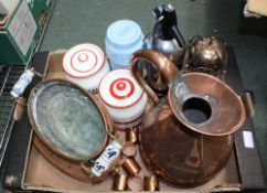 A BOX CONTAINING A SELECTION OF DOMESTIC METALWARES VARIOUS together with two kitchen storage jars