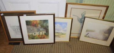 JOHN DAVIES A WATERCOLOUR STUDY OF A DISTANT COTSWOLD VILLAGE together with a selection of