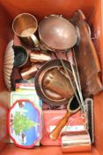 A CRATE CONTAINING PREDOMINANTLY DOMESTIC COPPER WARES together with a selection of enamelled trays,