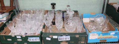 A SHELF FULL OF DOMESTIC GLASSWARE