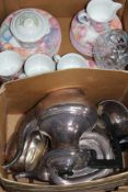 A BOX CONTAINING A SILVER-PLATED TEA SERVICE, modern floral decorated part tea service etc.