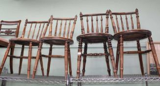 A SELECTION OF FOUR TURNED SPINDLED BACK PENNY SEATED CHAIRS