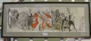 AFTER FELIX TOPOLSKI A print depicting a Procession of Judges in re-opening of Law Courts at