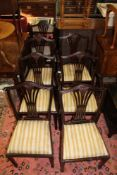 A REPRODUCTION SET OF EIGHT WHEATSHEAF BACK MAHOGANY COLOURED DINING CHAIRS, six singles, two