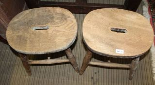 TWO RUSTIC ELM TOPPED FOUR LEGGED STOOLS