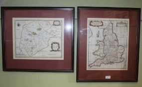 TWO ANTIQUE GLAZED & FRAMED MAPS, one showing the counties of England at Saxon times, the other
