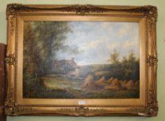 P. LESLIE, 19TH CENTURY BRITISH SCHOOL 'Harvest Stooks', landscape with cottage and figures. Oil