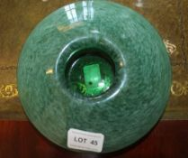 AN EARLY TO MID 20TH CENTURY 'MONART' GLASS WIDE RIMMED POSY HOLDER, mottled green with polished