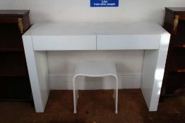 A MODERNIST DESIGNER GLOSS WHITE FINISHED RECTANGULAR TOPPED DRESSING TABLE with two inline