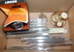 A BOX CONTAINING A SELECTION OF WATCH STRAPS & WATCHES VARIOUS