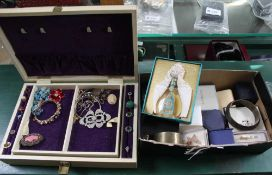 A JEWELLERY BOX AND A SHOE BOX CONTAINING COSTUME JEWELLERY and associated items