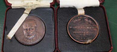 TWO BOXED 80TH BIRTHDAY OF WINSTON CHURCHILL COMMEMORATIVE TOKENS