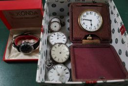 A BOX CONTAINING FIVE SILVER POCKET WATCHES, a leather cased travel clock and a modern wristwatch