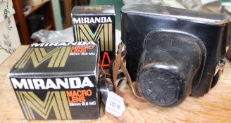 A CASED ZENIT CAMERA together with boxed Miranda branded accessories