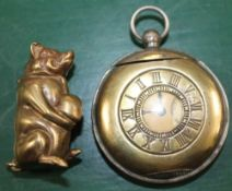TWO VESTA CASES one in the form of a half hunter pocket watch, the other a seated pig