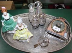 TWO PORCELAIN FEMALE FIGURINES, a four bottle table cruet, an oval tray and a barometer mounted in a