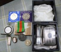 A SELECTION OF COLLECTORS COINAGE, a pocket compass, hallmarked silver items and a cameo brooch