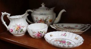 A ROYAL CROWN DERBY 'DERBY POSES PATTERNED' TEAPOT, CREAM & SUGAR, together with a selection of