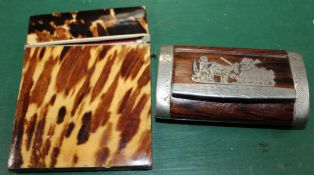 AN ANTIQUE TORTOISESHELL COVERED VISITING CARD CASE together with a French metal mounted wooden