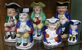 A SELECTION OF SIX POTTERY PAINTED TOBY JUGS VARIOUS