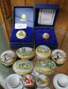 A COLLECTION OF ENGLISH ENAMELLED LIDDED POTS