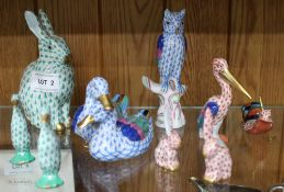 A SELECTION OF HEREND PORCELAIN ANIMALS VARIOUS