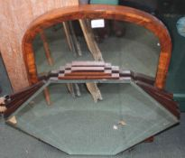 TWO WALL MIRRORS, to include one 19th century arch topped, in wooden frame, the other bevelled Art