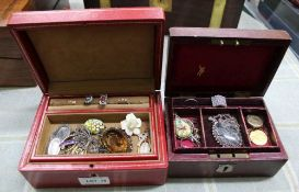 TWO SMALL RED JEWELLERY BOXES CONTAINING A SELECTION OF COSTUME JEWELLERY VARIOUS