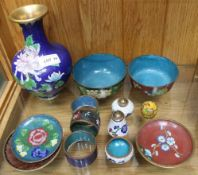 A SELECTION OF SMALL SIZED CLOISONNE to include a three-piece cruet