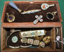 A LEATHER COVERED BOX CONTAINING MOSAIC JEWELLERY etc.