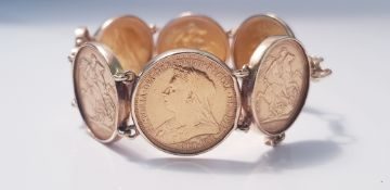 A bracelet of 6 gold Sovereigns, dated 1888,1896,1895,1900,1888,1889 with safety chain, approx.