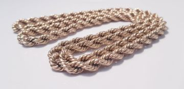 """A yellow gold marked 375 rope twist design chain, approx. length 30"""", approx. weight 81g"""