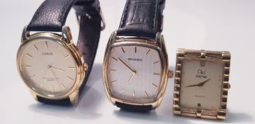 A Gent's Sekonda wristwatch, white dial, having hourly baton markers on black leather strap, a