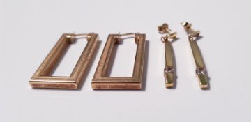 A pair of yellow gold marked 375,drop earrings of rectangular design and another pair of yellow gold