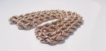 """A yellow metal rope twist design chain, approx. length 30"""", approx. weight 161gms. IMPORTANT: Online"""