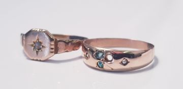 A rose coloured metal ring with gem stones ( one stone missing), ring size M, approx. weight 0.