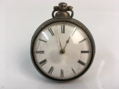 A 19th century silver pair cased fusee pocket watch. Online viewing and bidding only. No in person