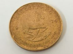 A 1974 1oz fine gold Krugerrand. *Sold without buyers premium. Online viewing and bidding only. No