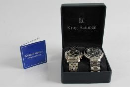 *Two Gent's Krug-Bauman wristwatches on bracelet straps, in box. Online viewing and bidding only. No