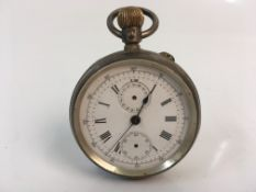 A 19th century silver pocket watch, marked 'Patented May 3rd 1883'. Online viewing and bidding only.