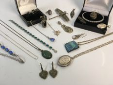 A selection of silver jewellery to include dragonfly brooch, bracelet and pendant on chain with blue