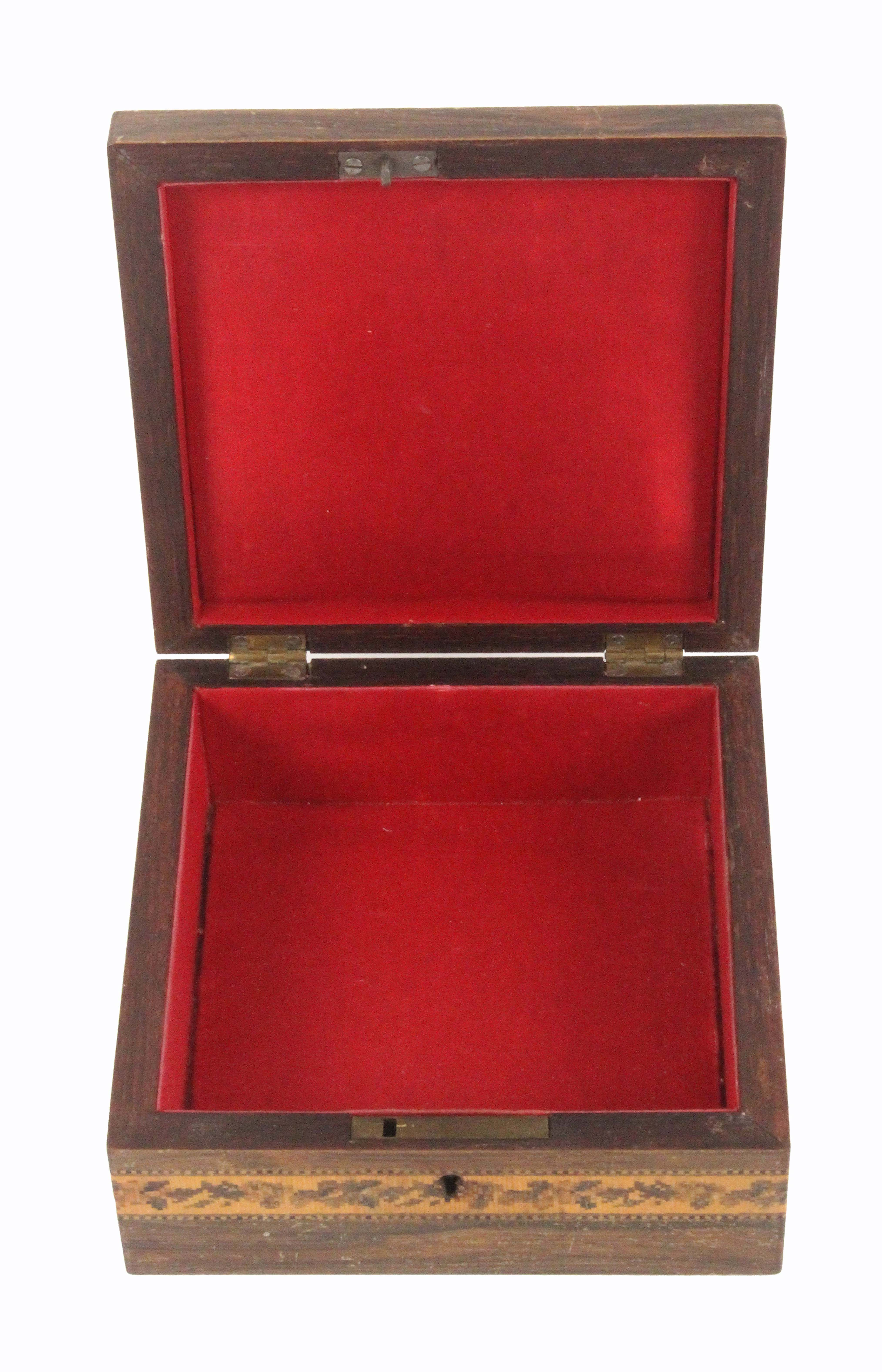 Lot 18 - A Tunbridge ware rosewood box of square form, the sides with a band of geometric mosaic, the cushion