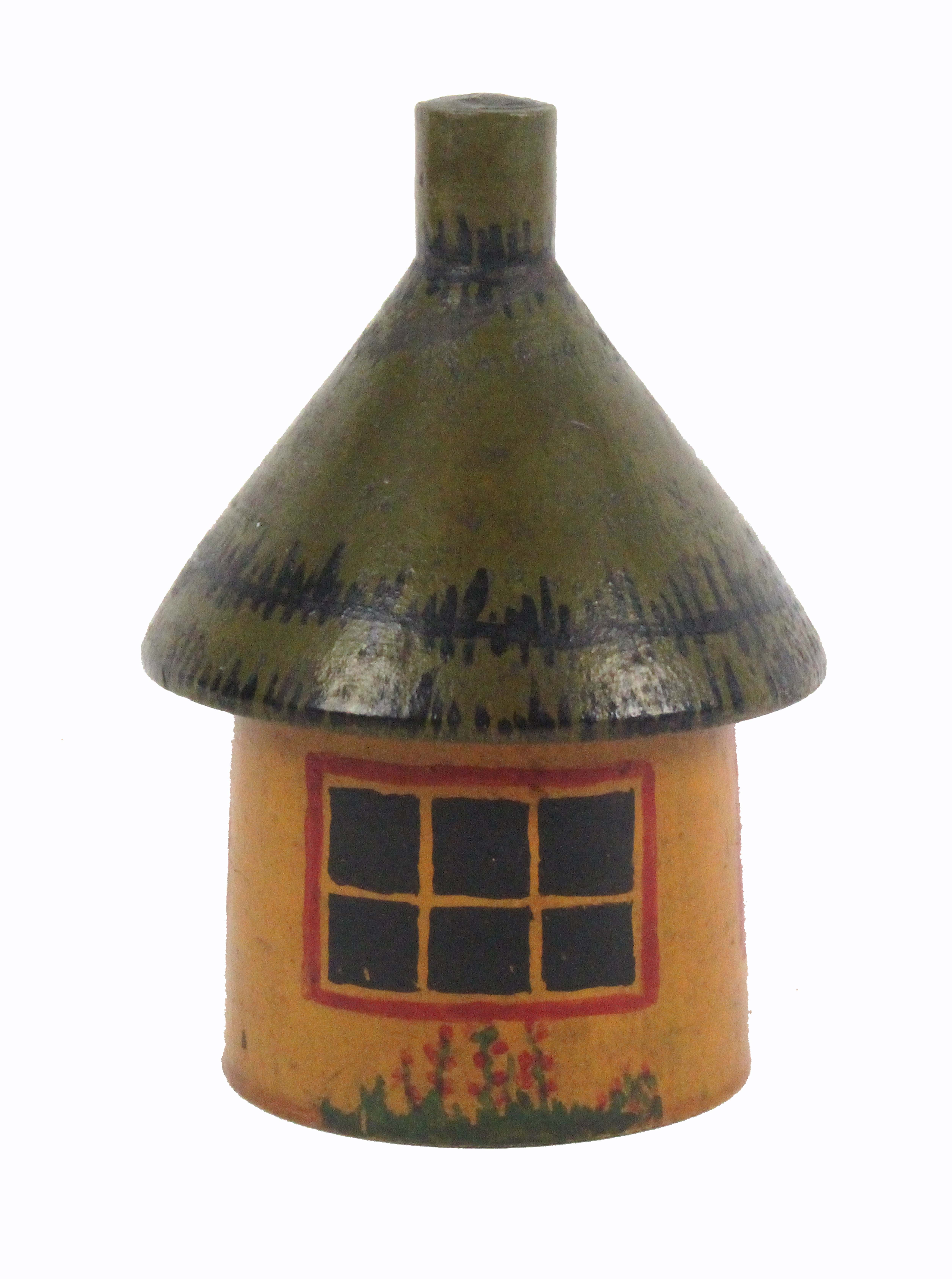 Lot 14 - A 20th Century Tunbridge style painted cottage box, of circular form with 'thatched' roof and single