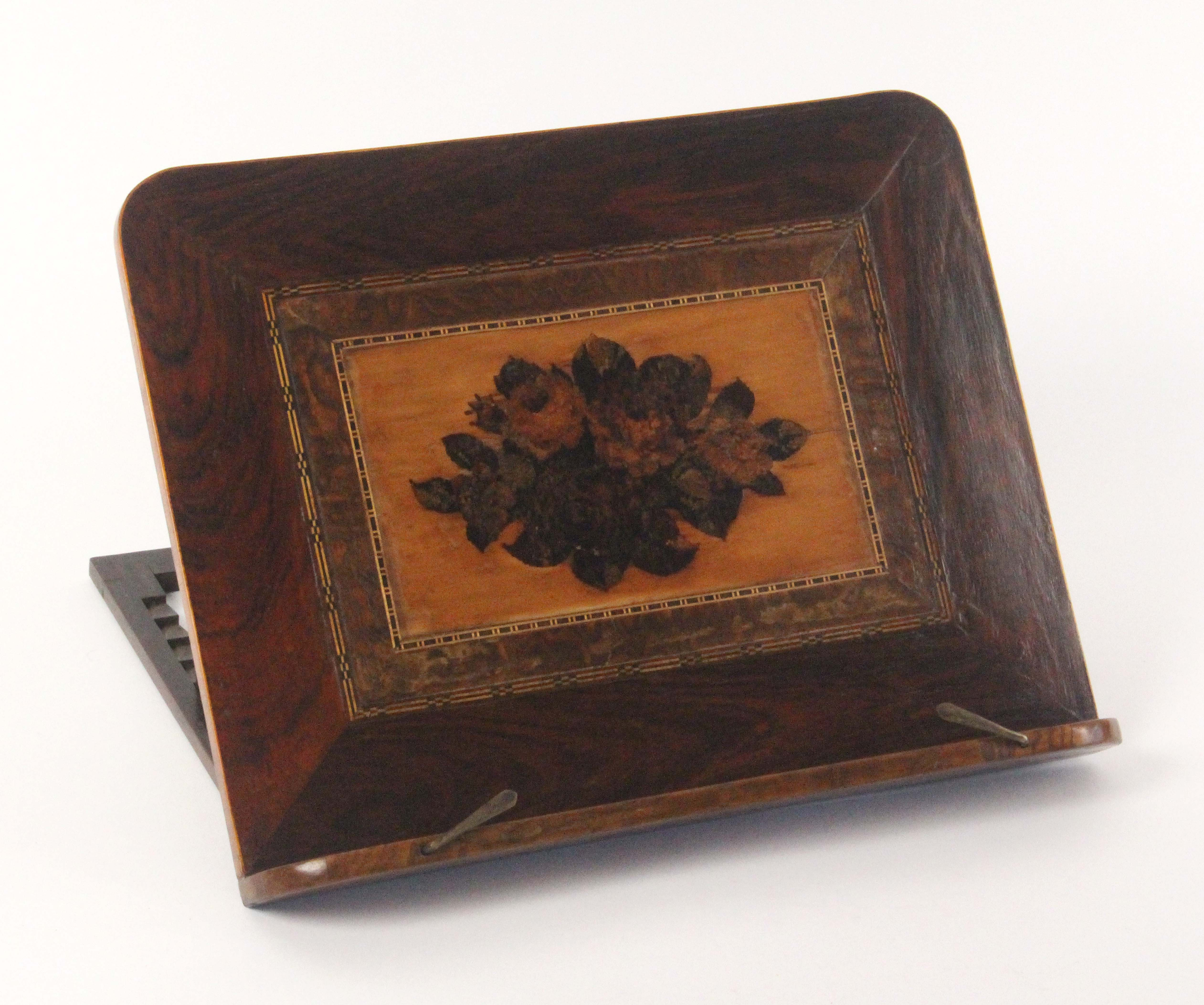 Lot 21 - A Tunbridge ware mixed woods table reading or music stand, the stand with a panel of floral mosaic