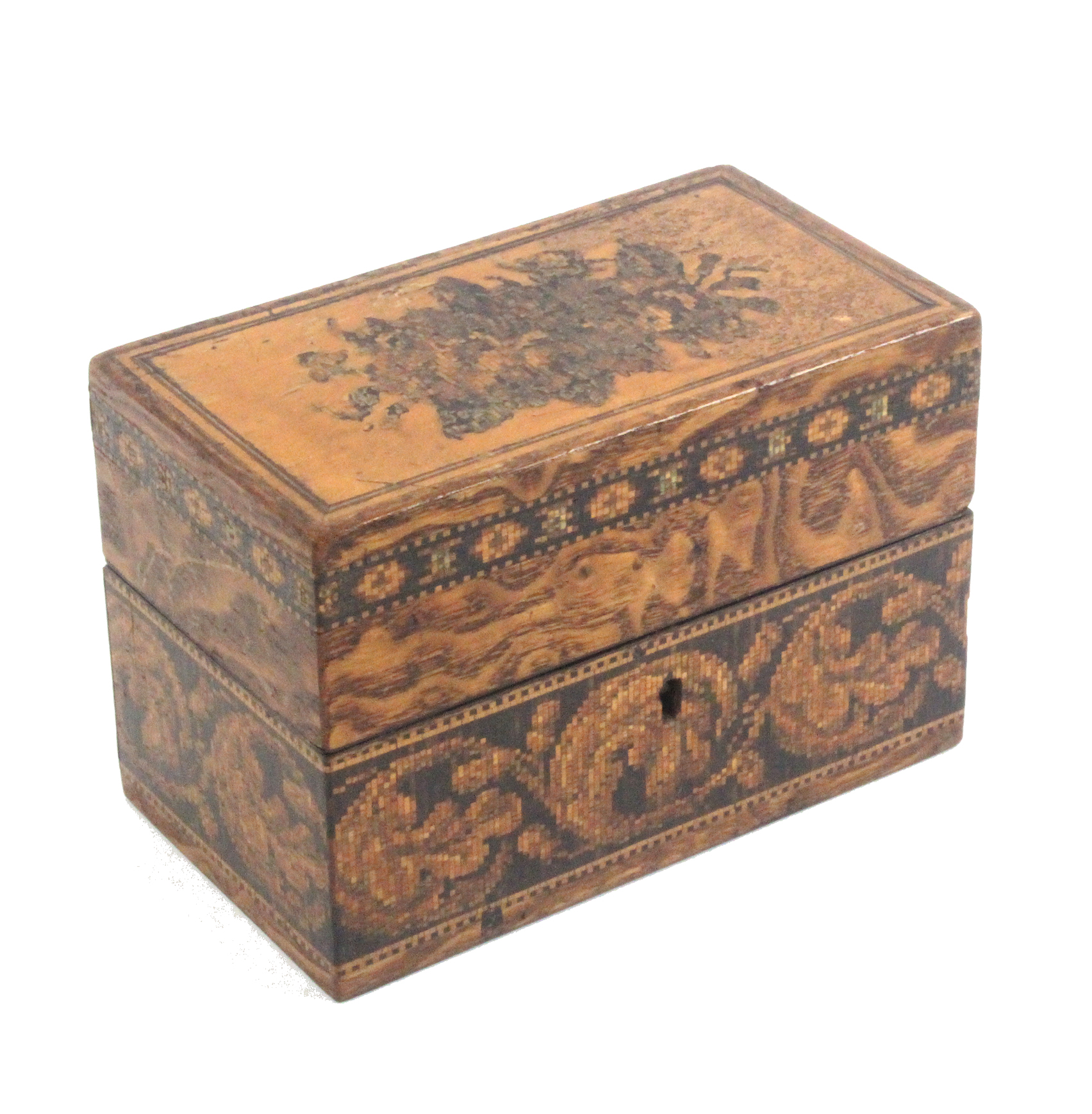 A Tunbridge ware box by Edmund Nye, the lid inset with a floral mosaic, the sides with a band of