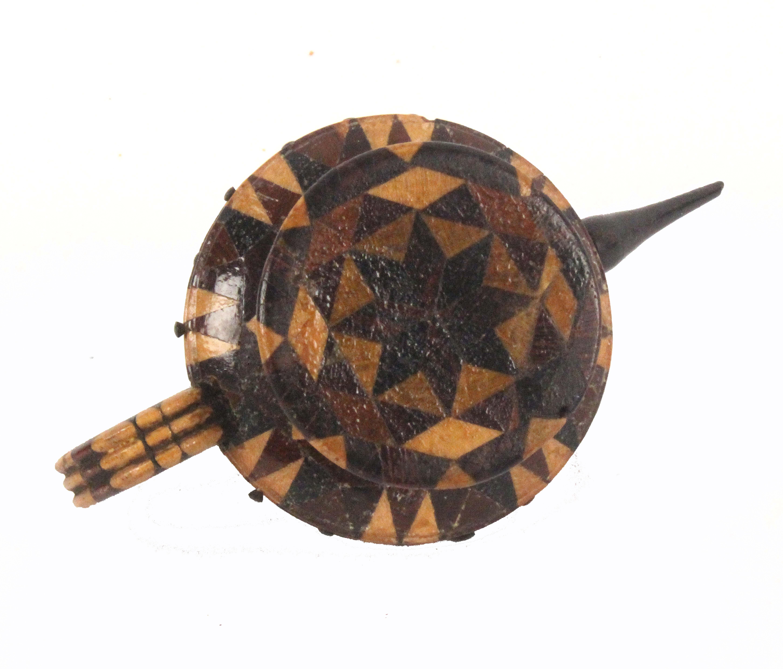 A good Tunbridge stick ware teapot pin cushion and wheel, rosewood spout, velvet cushion, disc - Image 2 of 2