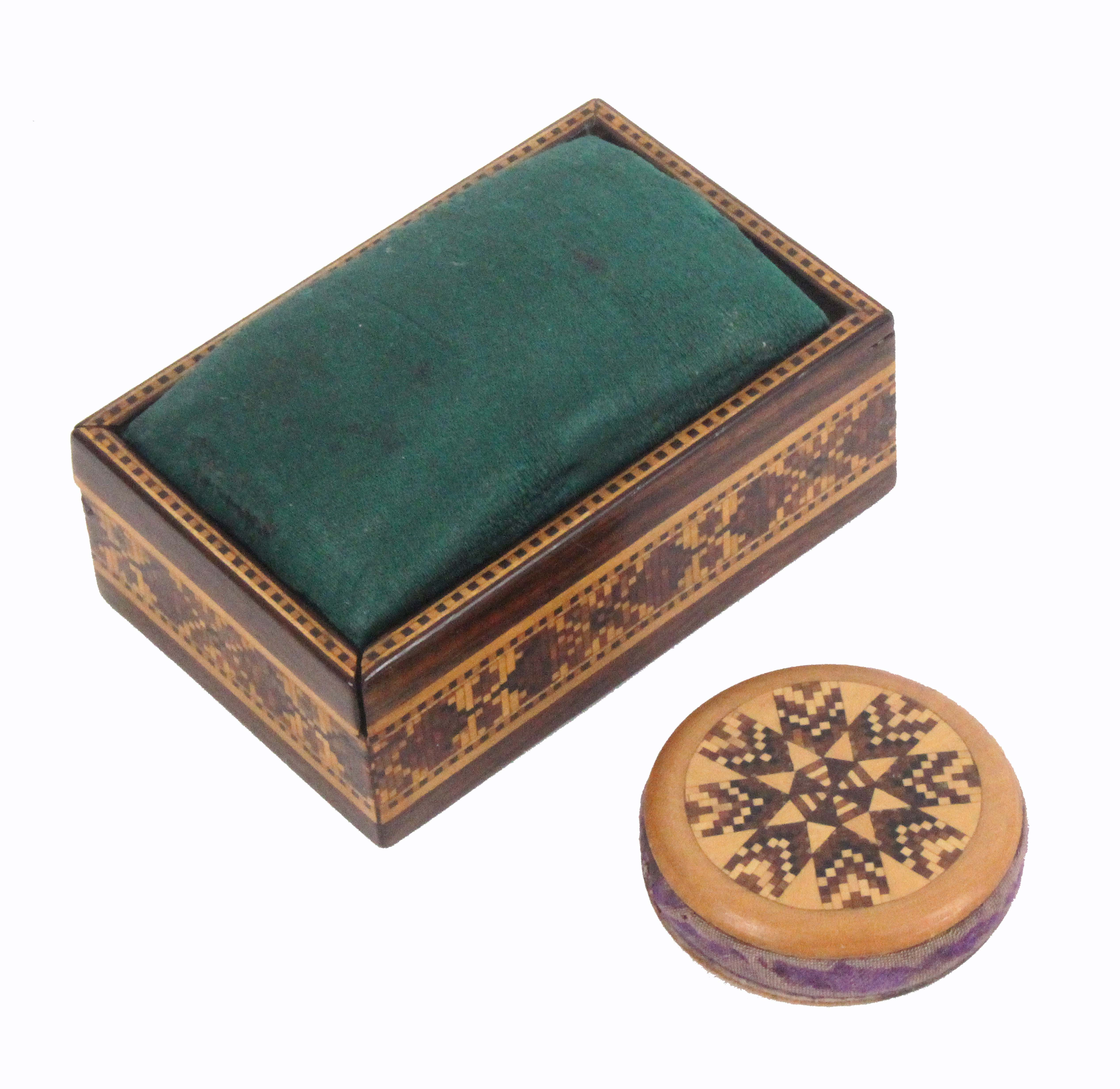 Lot 11 - Tunbridge ware - two pieces, comprising a rosewood geometric mosaic rectangular box with sliding lid