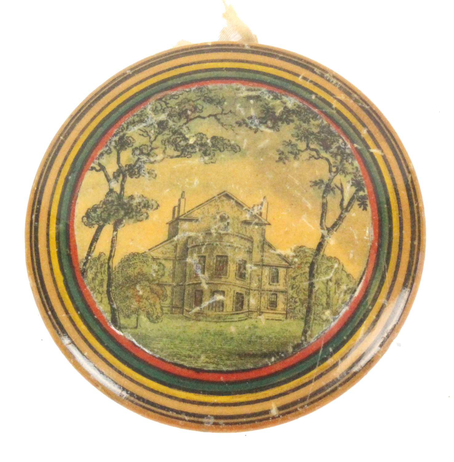 Lot 4 - A rare circular paint and print decorated early Tunbridge ware pin cushion, of circular form one