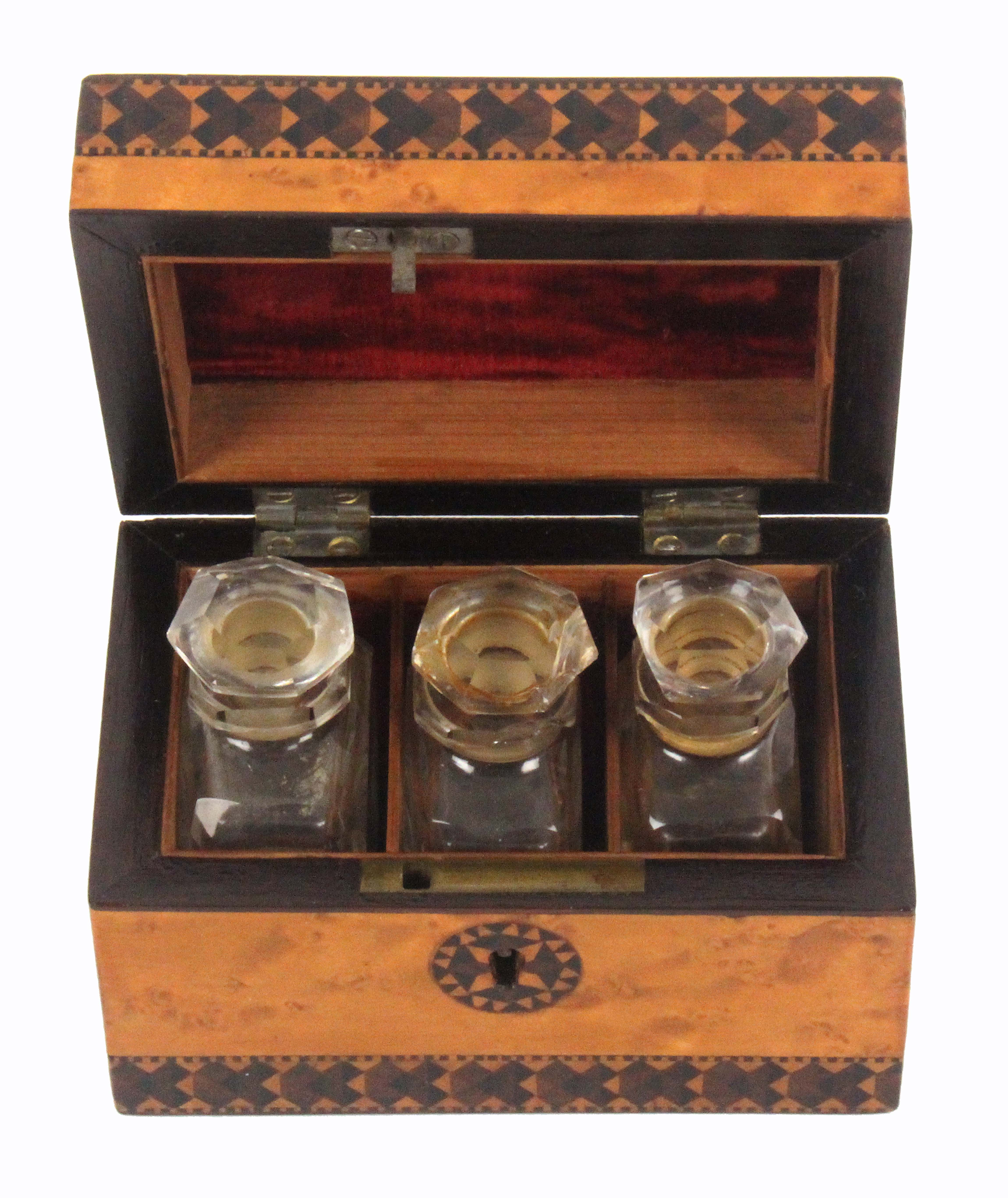 A Tunbridge ware scent bottle box, of rectangular form, the burr maple ground with two bands of - Image 2 of 2