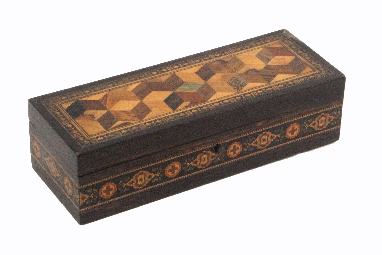 A rectangular coromandel wood Tunbridge ware box by Thomas Barton, the sides with a band of cross